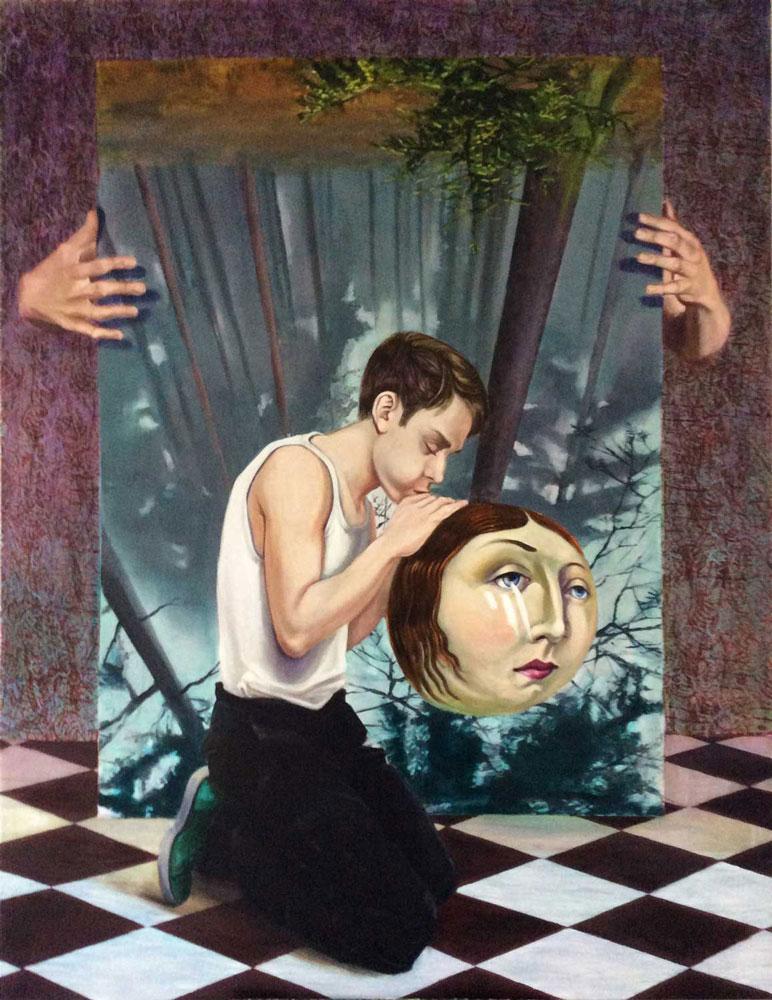Mathias-Perlet - La-Luna Eitempera und Öl auf Leinwand 180x140cm