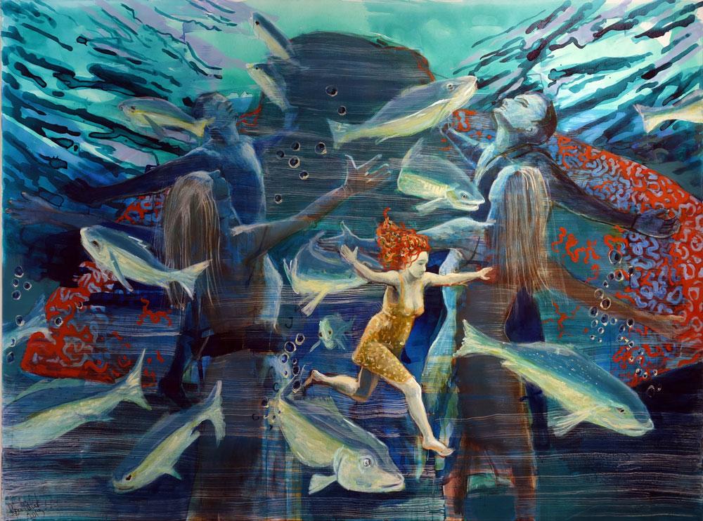 Sylvia Perlet-Pfefferkorn - Schwarm Acryl auf Leinwand 160x200cm