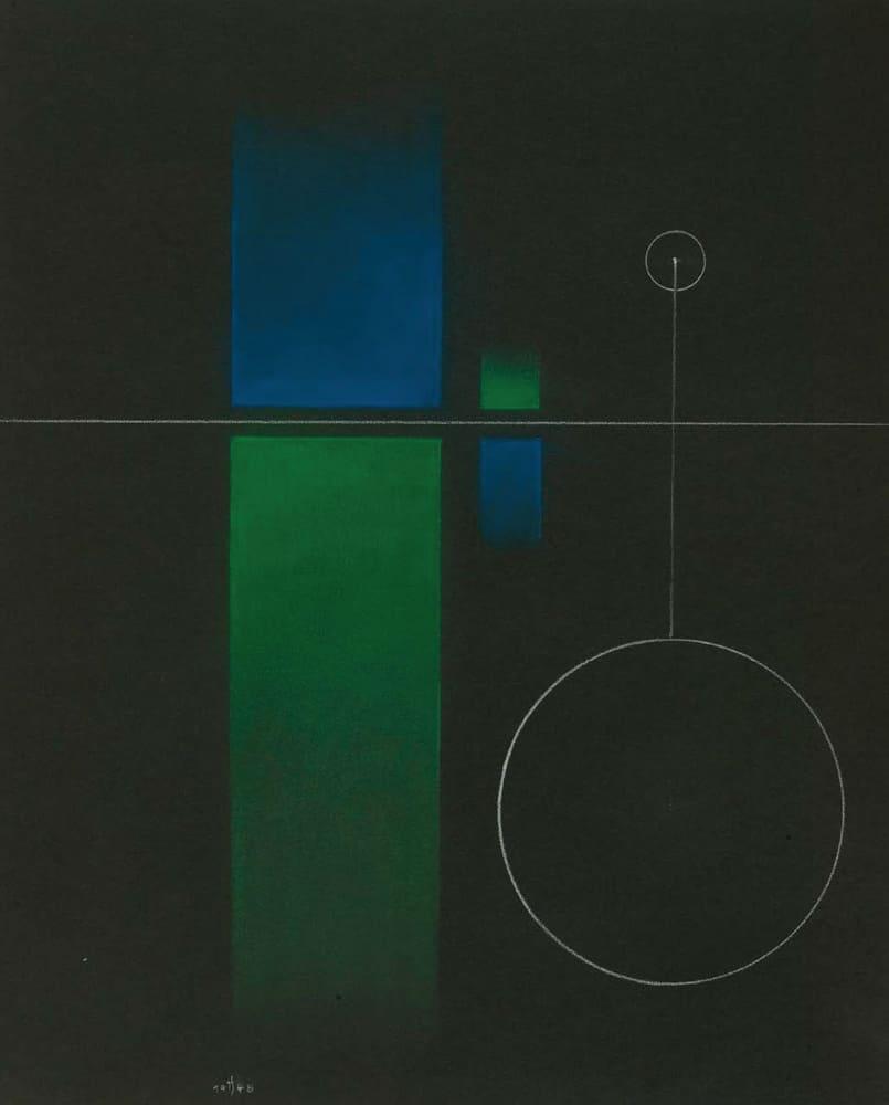 Thomas Schwarz - o.T. 1948 Pastellkreide auf farbigem Papier 60x48cm