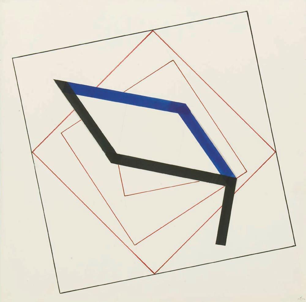 Thomas Schwarz - o.T. 1974 Papiercollage Faserschreiber auf Karton 50x50cm